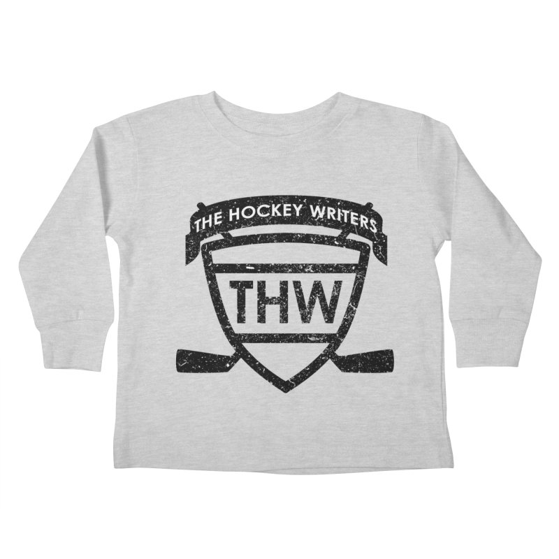 The Hockey Writers Shield - black stressed Kids Toddler Longsleeve T-Shirt by The Hockey Writers