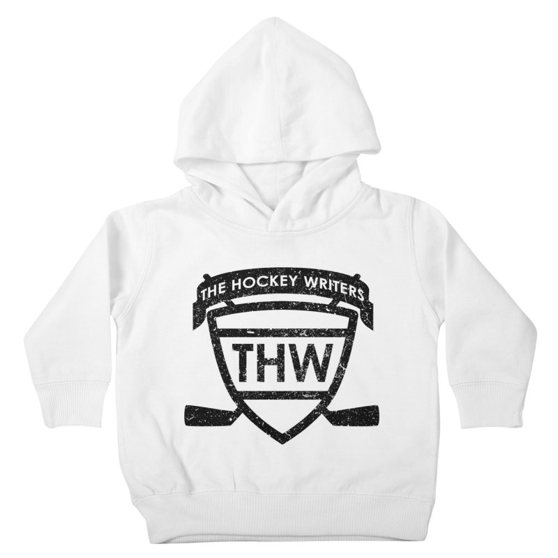 The Hockey Writers Shield - black stressed Kids Toddler Pullover Hoody by The Hockey Writers