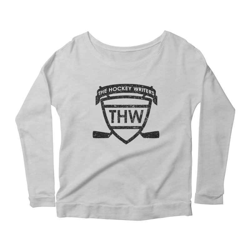 The Hockey Writers Shield - black stressed Women's Scoop Neck Longsleeve T-Shirt by The Hockey Writers