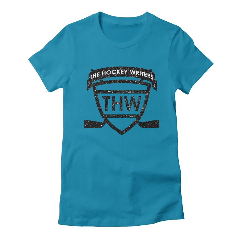 The Hockey Writers Shield - black stressed Women's Fitted T-Shirt by The Hockey Writers