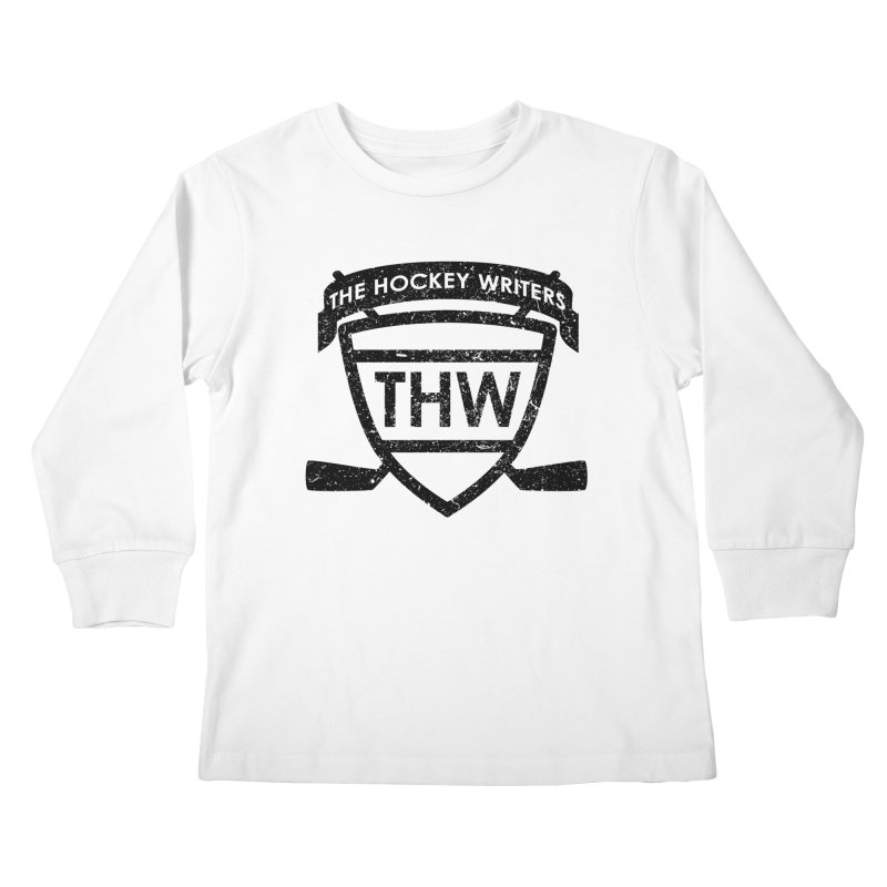 The Hockey Writers Shield - black stressed Kids Longsleeve T-Shirt by The Hockey Writers