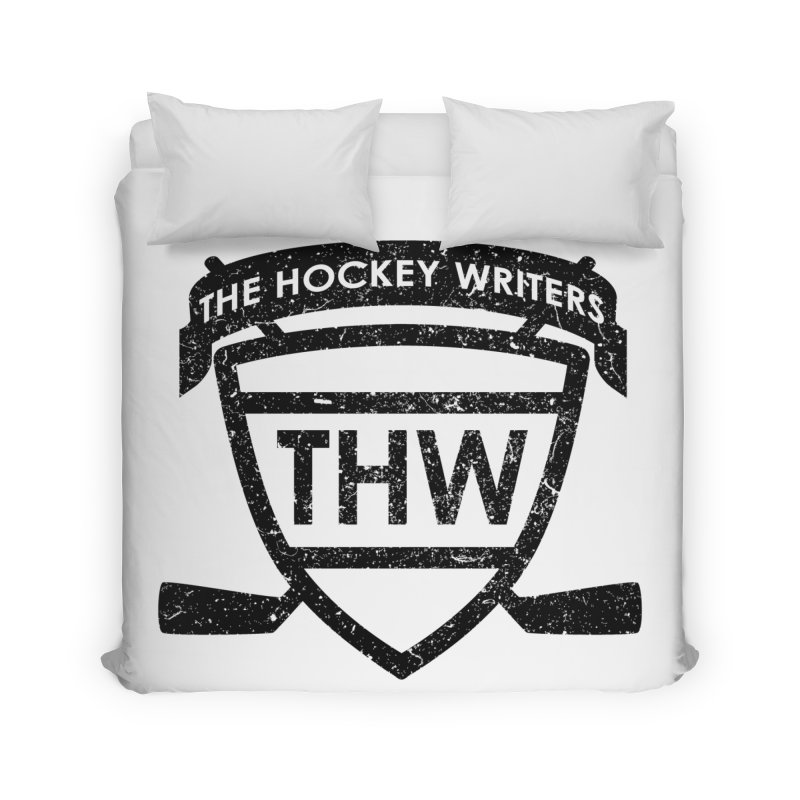 The Hockey Writers Shield - black stressed Home Duvet by The Hockey Writers