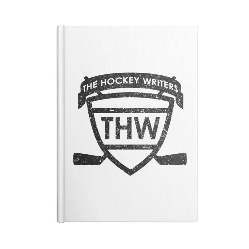 The Hockey Writers Shield - black stressed Accessories Lined Journal Notebook by The Hockey Writers