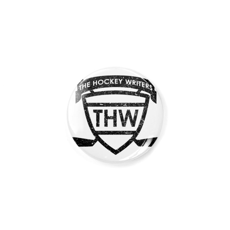 The Hockey Writers Shield - black stressed Accessories Button by The Hockey Writers