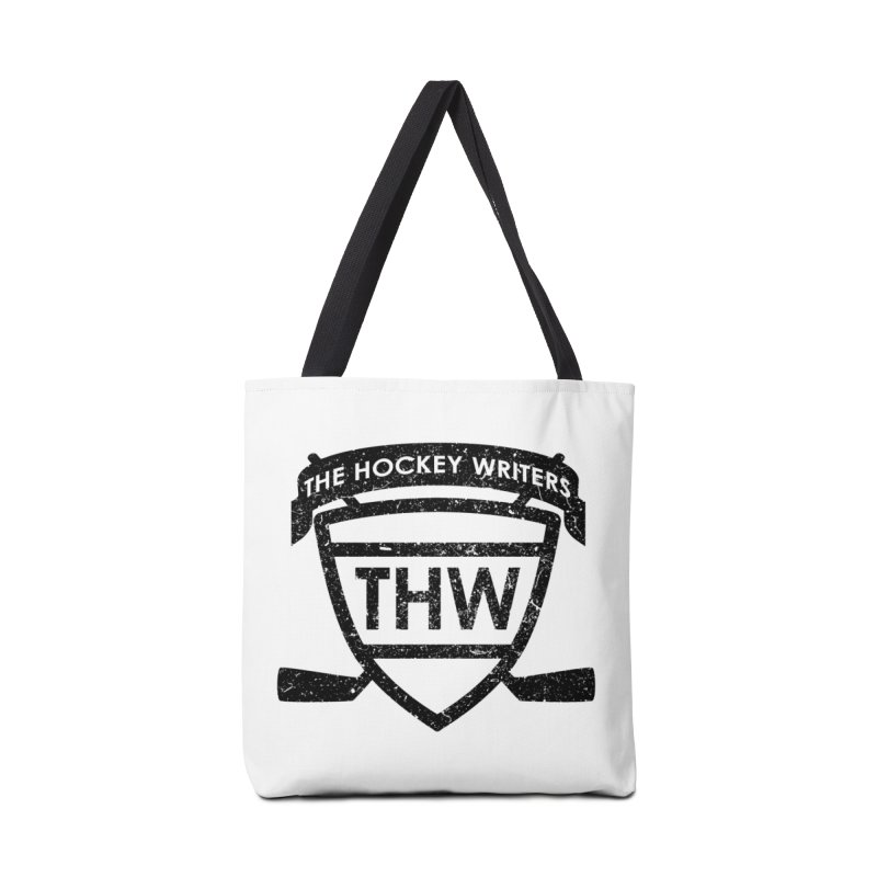 The Hockey Writers Shield - black stressed in Tote Bag by The Hockey Writers