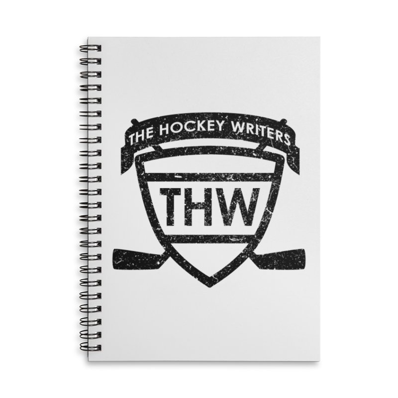 The Hockey Writers Shield - black stressed Accessories Lined Spiral Notebook by The Hockey Writers