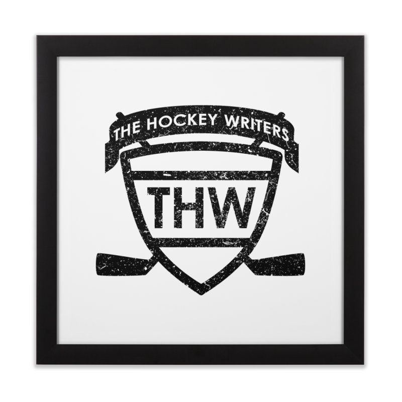 The Hockey Writers Shield - black stressed Home Framed Fine Art Print by The Hockey Writers
