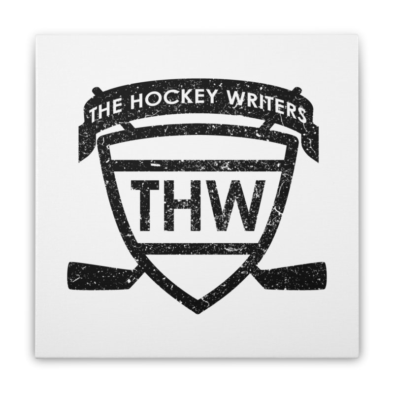 The Hockey Writers Shield - black stressed Home Stretched Canvas by The Hockey Writers
