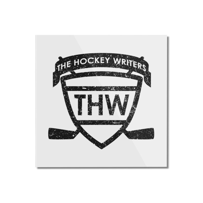 The Hockey Writers Shield - black stressed Home Mounted Acrylic Print by The Hockey Writers