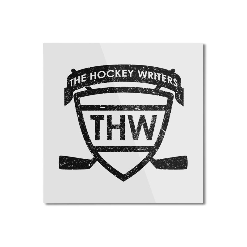The Hockey Writers Shield - black stressed Home Mounted Aluminum Print by The Hockey Writers