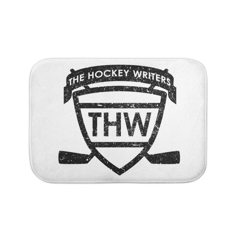 The Hockey Writers Shield - black stressed Home Bath Mat by The Hockey Writers