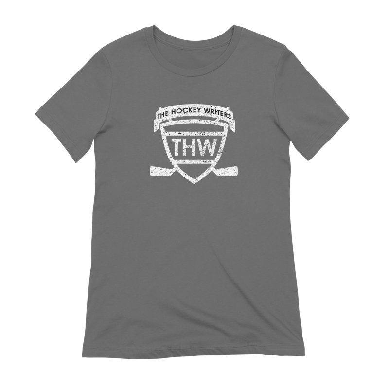 The Hockey Writers Shield - white stressed Women's Extra Soft T-Shirt by The Hockey Writers