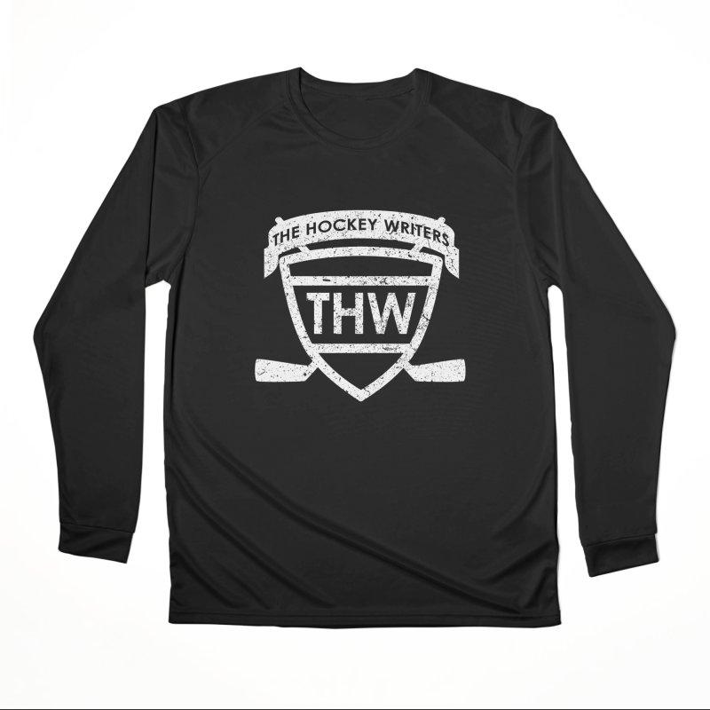 The Hockey Writers Shield - white stressed Women's Performance Unisex Longsleeve T-Shirt by The Hockey Writers