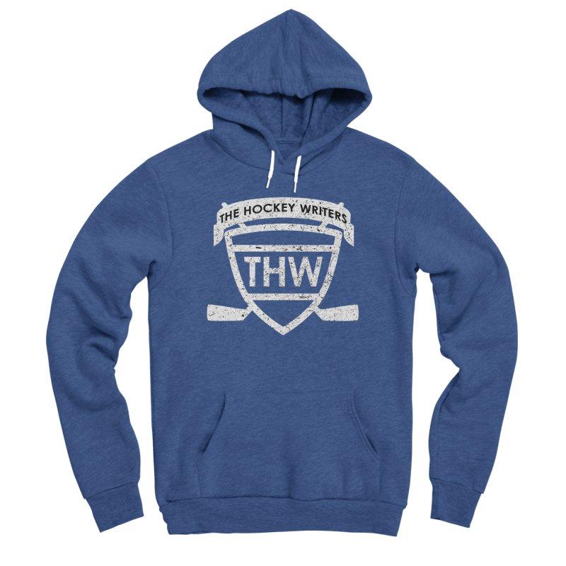 The Hockey Writers Shield - white stressed Women's Sponge Fleece Pullover Hoody by The Hockey Writers