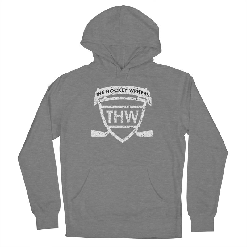 The Hockey Writers Shield - white stressed Women's French Terry Pullover Hoody by The Hockey Writers