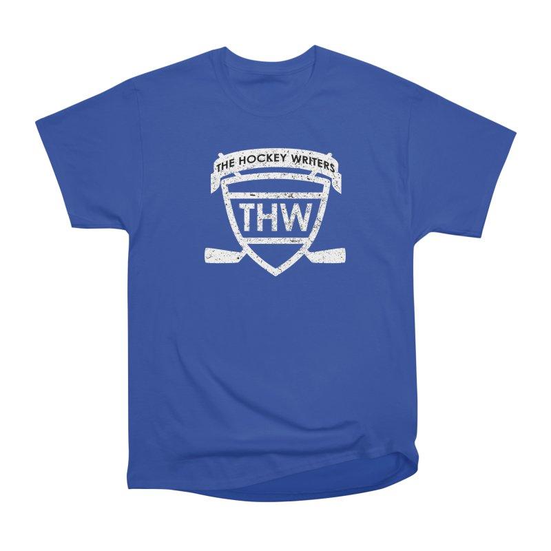 The Hockey Writers Shield - white stressed Women's Heavyweight Unisex T-Shirt by The Hockey Writers