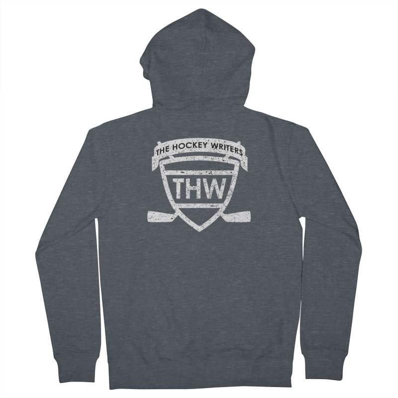 The Hockey Writers Shield - white stressed Men's French Terry Zip-Up Hoody by The Hockey Writers