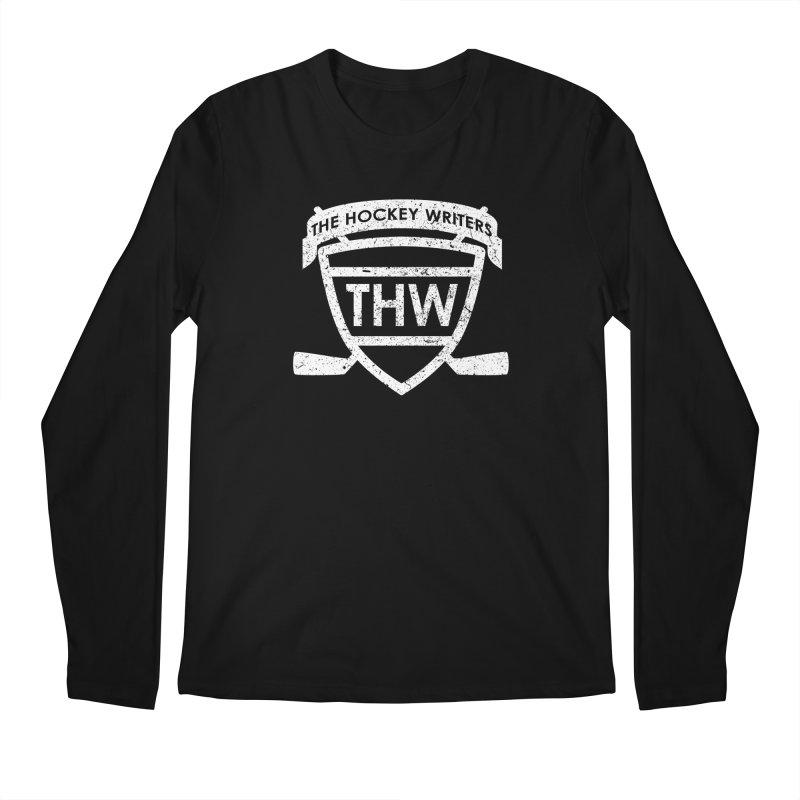 The Hockey Writers Shield - white stressed Men's Regular Longsleeve T-Shirt by The Hockey Writers