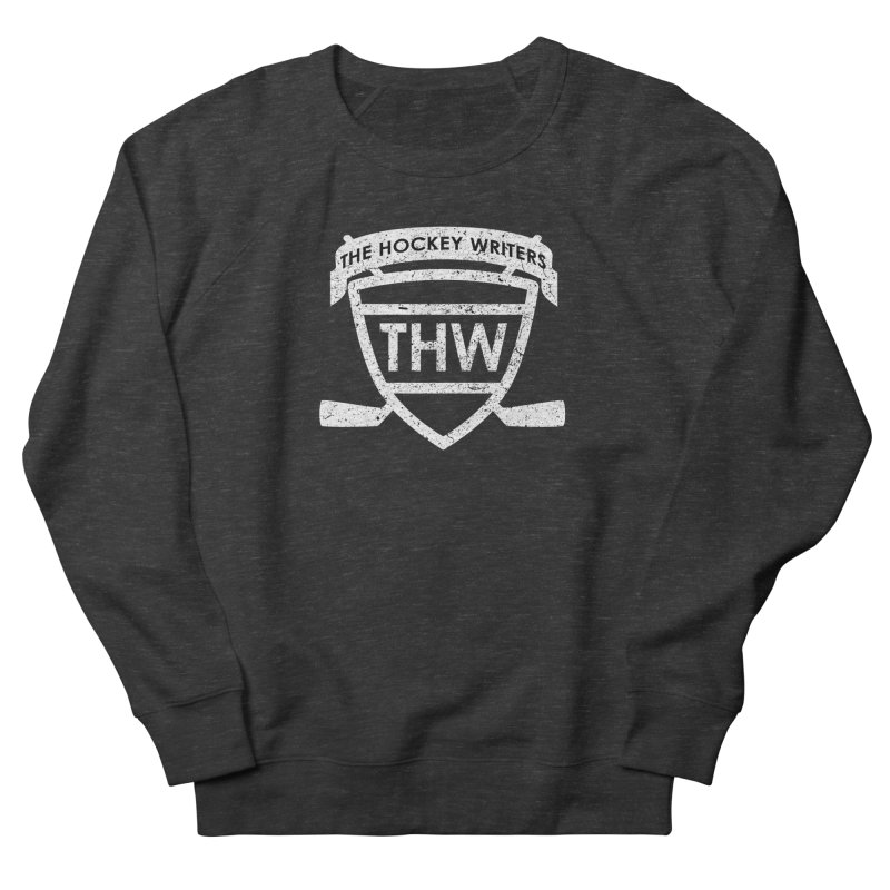 The Hockey Writers Shield - white stressed Women's French Terry Sweatshirt by The Hockey Writers