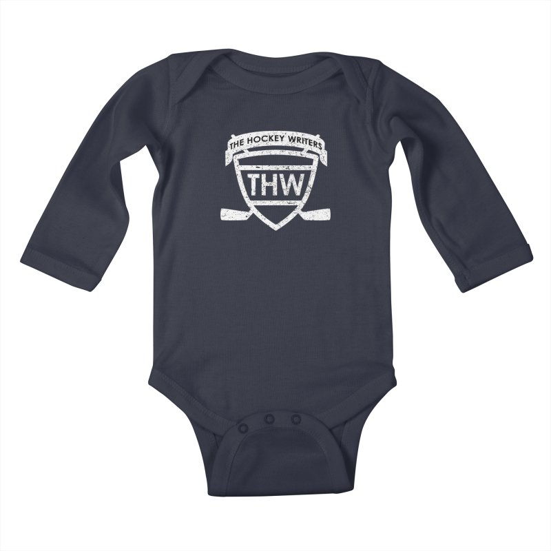 The Hockey Writers Shield - white stressed Kids Baby Longsleeve Bodysuit by The Hockey Writers