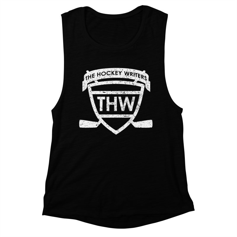 The Hockey Writers Shield - white stressed Women's Muscle Tank by The Hockey Writers