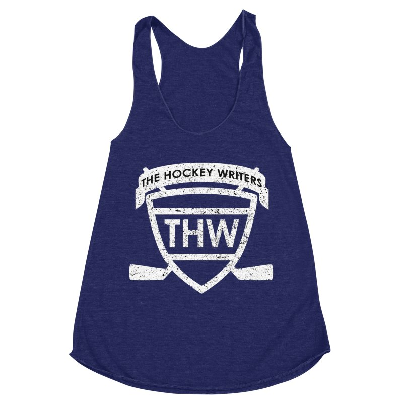 The Hockey Writers Shield - white stressed Women's Racerback Triblend Tank by The Hockey Writers