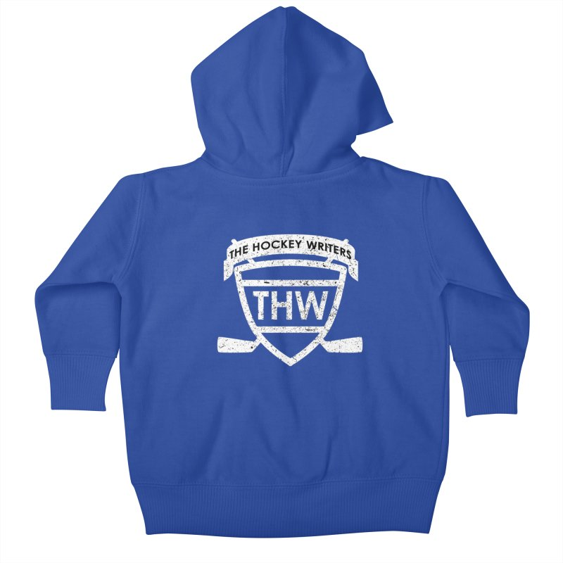 The Hockey Writers Shield - white stressed Kids Baby Zip-Up Hoody by The Hockey Writers