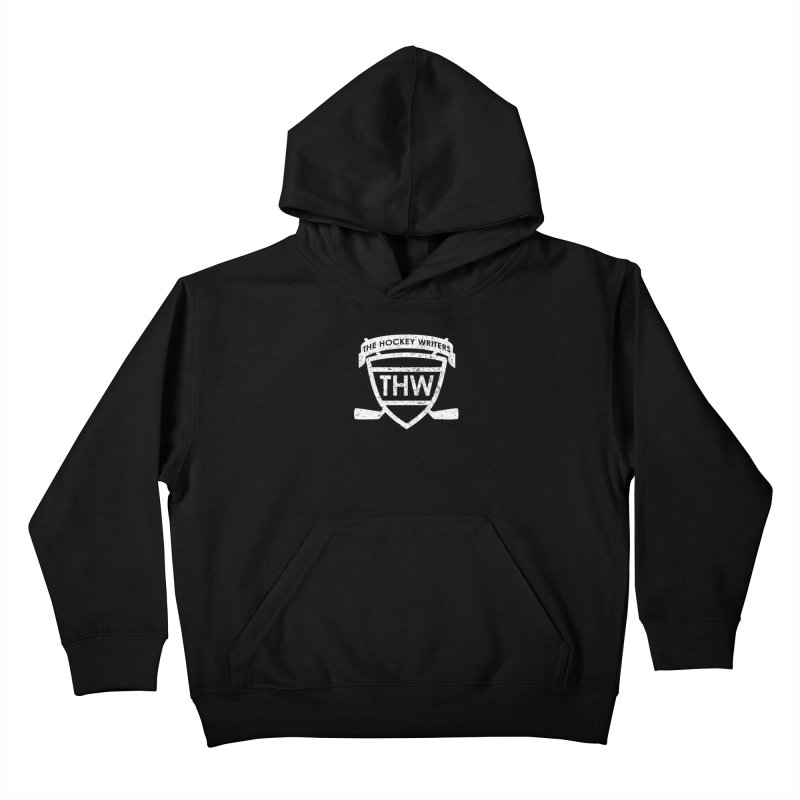 The Hockey Writers Shield - white stressed Kids Pullover Hoody by The Hockey Writers