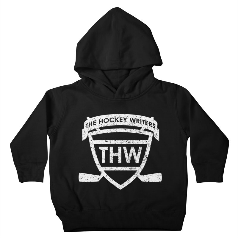 The Hockey Writers Shield - white stressed Kids Toddler Pullover Hoody by The Hockey Writers