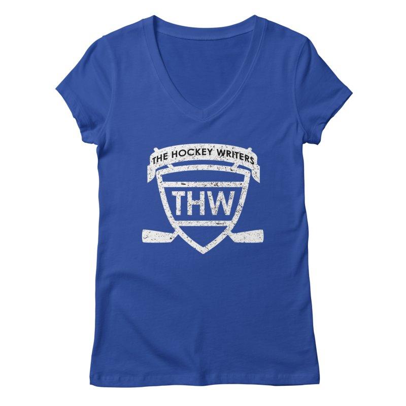 The Hockey Writers Shield - white stressed Women's Regular V-Neck by The Hockey Writers