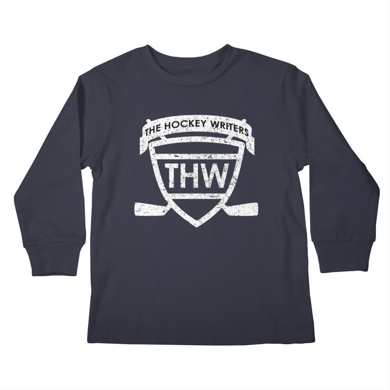 The Hockey Writers Shield - white stressed Kids Longsleeve T-Shirt by The Hockey Writers