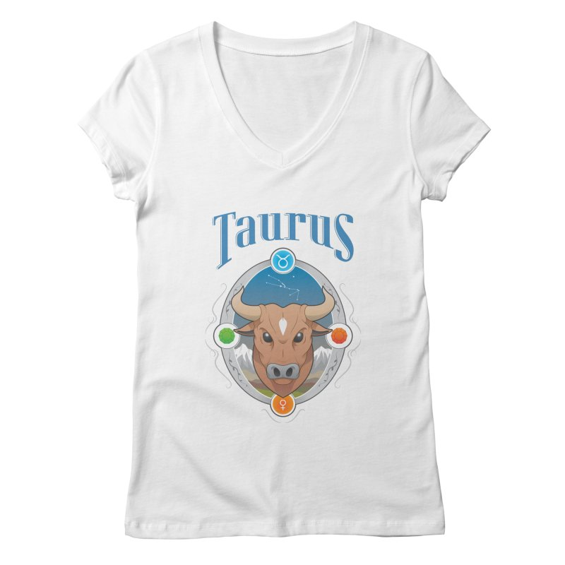 Zodiac - Taurus Women's V-Neck by Tiger74  - t-shirts with a claw!