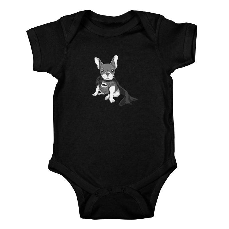French Batdog Kids Baby Bodysuit by Tiago Möller Art Shop