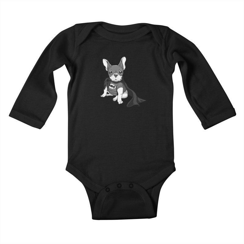French Batdog Kids Baby Longsleeve Bodysuit by T2U
