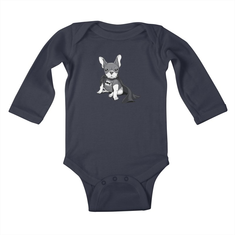French Batdog Kids Baby Longsleeve Bodysuit by T2U