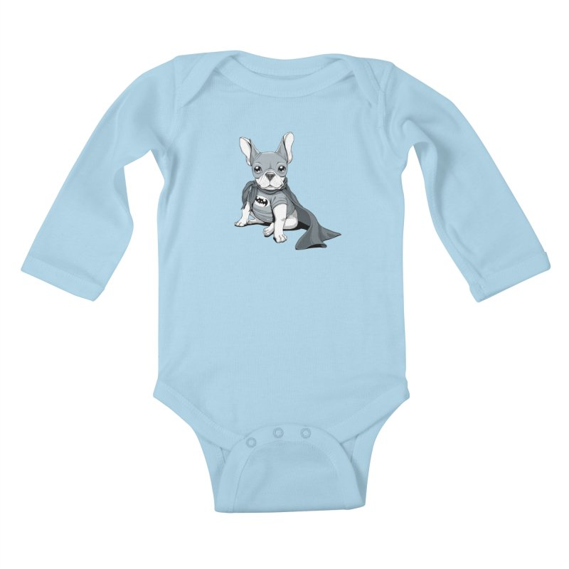 French Batdog Kids Baby Longsleeve Bodysuit by Tiago Möller Art Shop