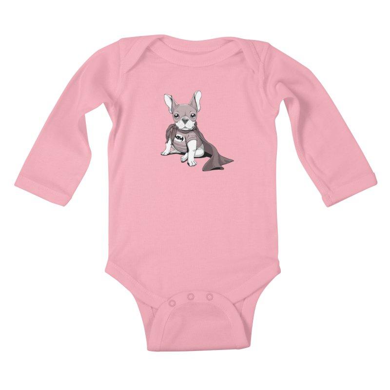 French Batdog Kids Baby Longsleeve Bodysuit by Tiago Möller Art Shop