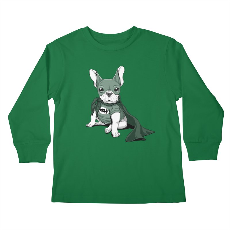 French Batdog Kids Longsleeve T-Shirt by Tiago Möller Art Shop