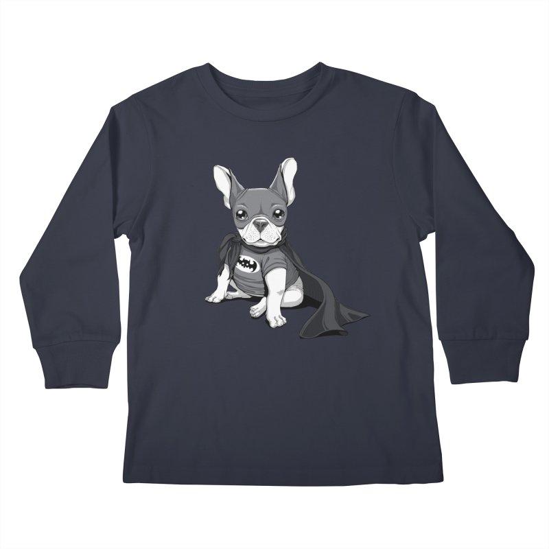 French Batdog Kids Longsleeve T-Shirt by Tiago Möller Art Shop