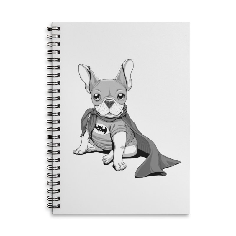 French Batdog Accessories Lined Spiral Notebook by T2U