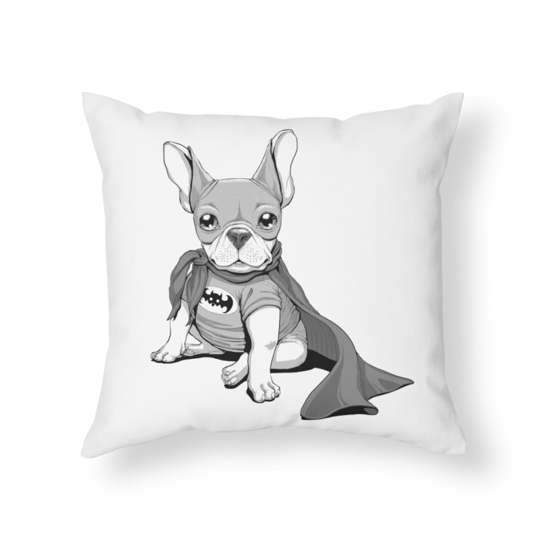 French Batdog Home Throw Pillow by T2U