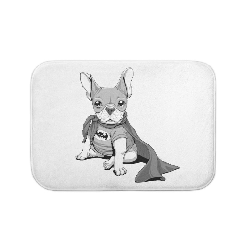 French Batdog Home Bath Mat by T2U