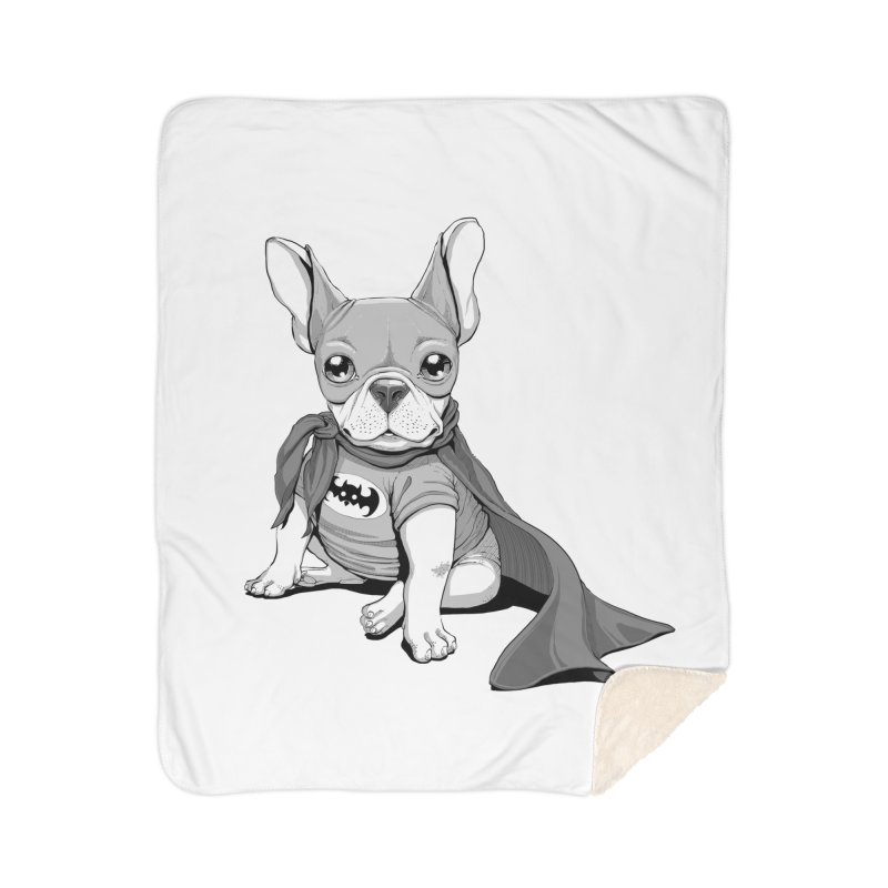 French Batdog Home Sherpa Blanket Blanket by T2U