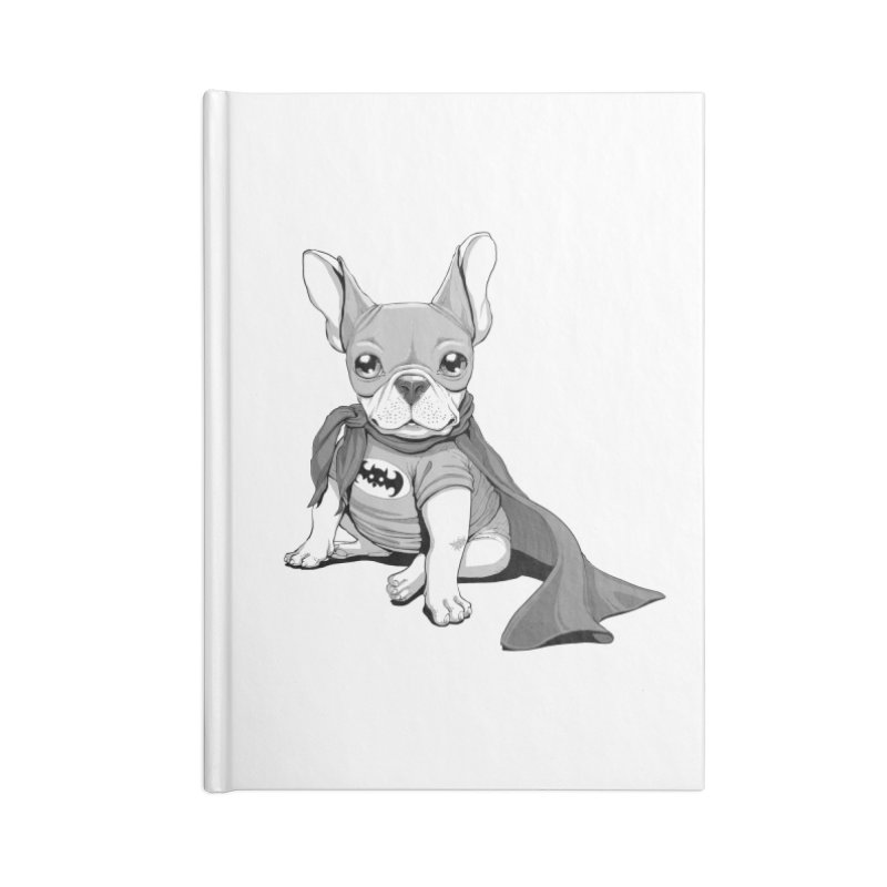 French Batdog Accessories Lined Journal Notebook by T2U