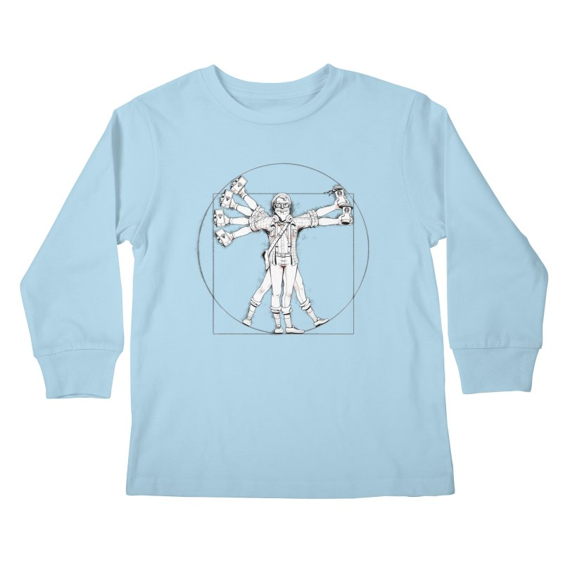 Hipstruvian Man Kids Longsleeve T-Shirt by T2U