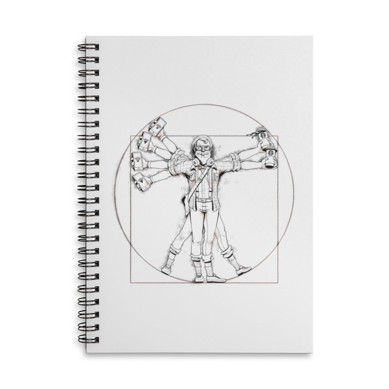 Hipstruvian Man Accessories Lined Spiral Notebook by T2U