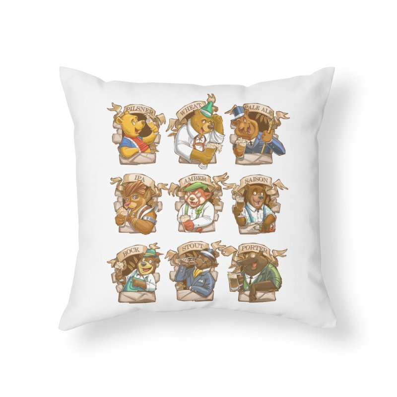 Beer Bears Home Throw Pillow by T2U