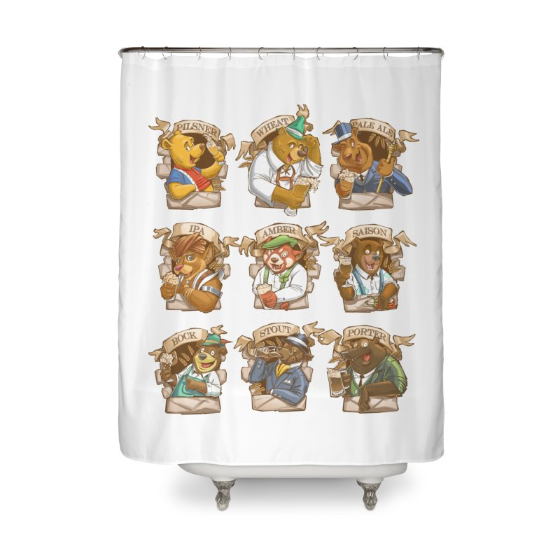 Beer Bears Home Shower Curtain by Tiago Möller Art Shop