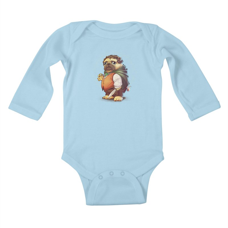 Frodo Puggins Kids Baby Longsleeve Bodysuit by Tiago Möller Art Shop