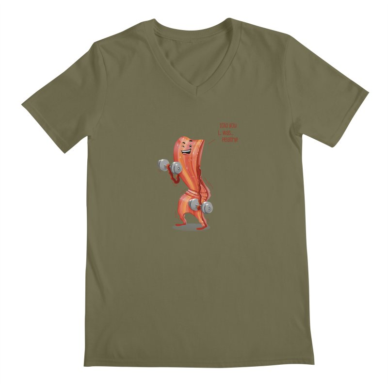 Bacon is Healthy Men's Regular V-Neck by T2U